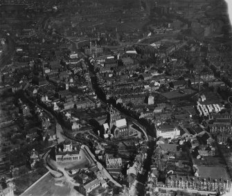 Paisley, general view, showing High Street and Clark and Co. Anchor Mills Thread Works.  Oblique aerial photograph taken facing east.  This image has been produced from a print.