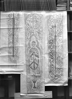 1. a) Rubbing of grave slab, St. Clement's Church, Rodel, Harris     b) See alsp rubbing on in/457     [one of these above is Inv.Fig.144] 2. a) Rubbing of grave slab, Trumpan Church, Vaternish, Skye (Parish of Duirnish)     b) See also rubbing on In/657     [One of these above is Inv. Fig. 248] 3. a) Rubbing of grave slab, St. Clement's Church, Rodel, Harris      b) See also Rubbing on IN/457     [One of these above is Inv.Fig.143]