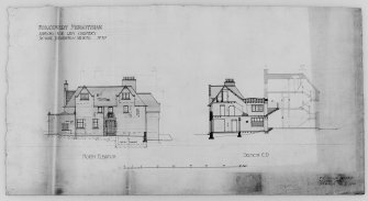 Photographic copy of drawing showing N. elevation and section.