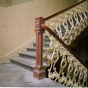 Interior. Main staircase, detail of newel post and balustrade