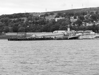 View from ferry to Bute of pier and station.