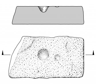 "Scanned ink drawing ""The Cup Stone"" at Daviot Parish Church: plan view & section"