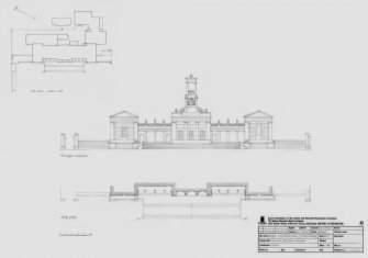 Bathgate Academy: Principal elevation and strip plan (1:200) and Site plan (1:500)
