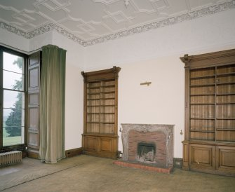 Interior. View of library with fitted bookcases