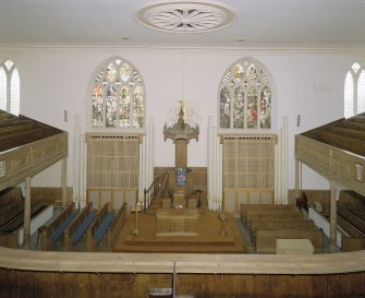 Interior. View from S gallery towards pulpit