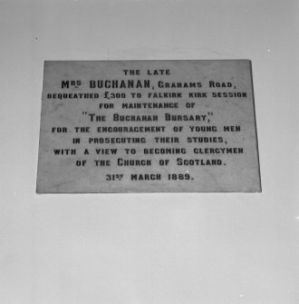 Interior. Detail of memorial plaque to Mrs Buchanan and the Buchanan Bursary