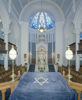 Interior. View of main hall from NW (from Bimah)