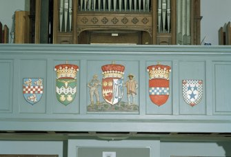 Interior, Gallery front with five painted heraldic shields centred on that of Viscount Cowdray