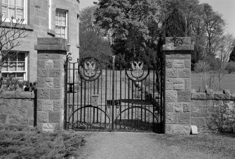 Detail of garden gates with double headed eagle.