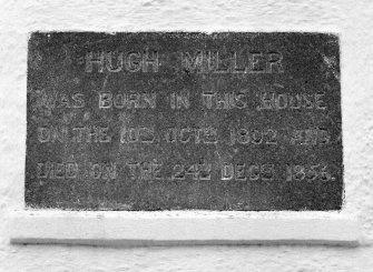 "Detail of N gable date plaque inscribed "" HUGH MILKLER WAS BORN IN THIS HOUSE ON THE10th OCT 1802 AND DIED ON THE 24th DEC 1856"""