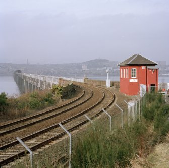 View from S looking onto the bridge, with its W side visible (left), and the Tay Bridge South signal box (right)
