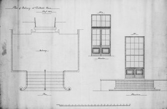 Photographic copy of drawing showing plan and elevations of balcony.
