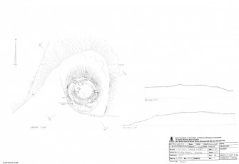 Cnoc Tigh, Dun, measured survey drawing, plan & sections.