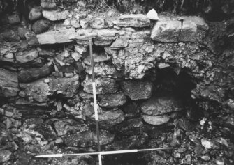 Craig Phadrig excavations 1971, rampart face. Ranging pole divisions are 0.5m. In MS7261/1