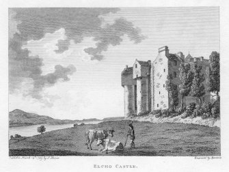 General view of Elcho Castle with river in front.