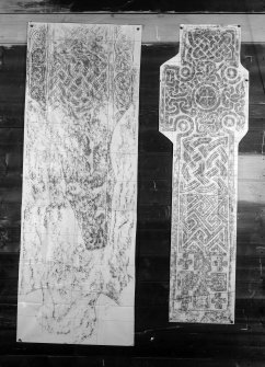 Photographic copy of two rubbings. The left rubbing shows the reverse side of cross slab, revealing interlace detail and the faint remains of a stag, St Cormac's Chapel, Eilean Mor. The right rubbing shows the face of a cross slab from Kilmartin Churchyard.