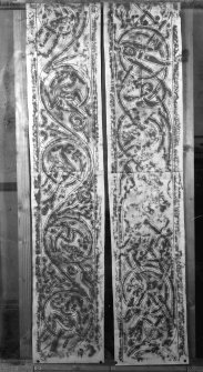 Photographic copy of two rubbings showing the lower interlacing panels from the face of Hilton of Cadboll Pictish symbol stone, originally from Hilton of Cadboll, now in the National Museums of Scotland.