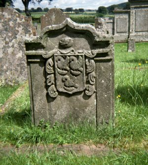 View of headstone to William Paterson, mason d. 1771, Hoddom parish churchyard.