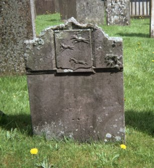 View of headstone, possibly with leaping deer, Hoddom parish churchyard.