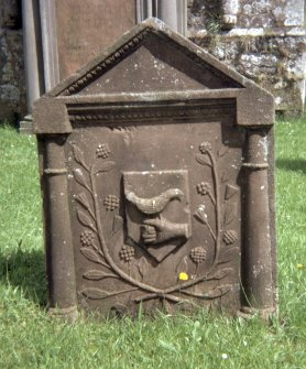 View of headstone to Thomas Blacklock d. 1766, Hoddom parish churchyard.