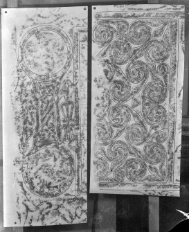 Photographic copy of two rubbings showing details from the face of Hilton of Cadboll Pictish symbol stone. Originally from Hilton of Cadboll, Highland, now in the National Museums of Scotland.