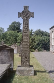 General view of cross, Wamphray Church burial ground.