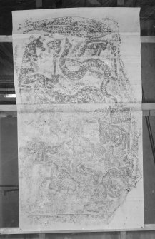 Photographic copy of rubbing showing reverse of Meigle no 1 Pictish cross slab.