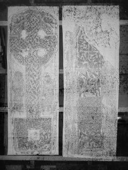 Photographic copy of two rubbings. The left rubbing shows the face of Aldbar Pictish cross slab, originally from Aldbar Chapel, now at Brechin Cathedral. The right rubbing shows detail of the reverse of Eilean Mor cross shaft, St Cormac's Chapel.
