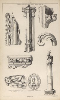 Plate ix from P Chalmers, Historical and Statistical Account of Dunfermline, showing 'Fragments of King Robert Bruce's marble tombstone', 'Gurgoil or stone water spout from the old market cross', 'Queensferry Burgh Seal', and 'Market cross pillar'.
