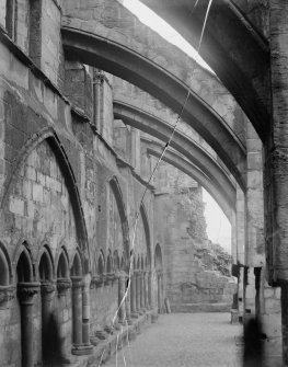 General view along buttresses in South Aisle of Holyrood Abbey
