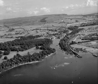 Balloch, Southern end of Loch Lomond Bonhill, Dunbartonshire, Scotland. Oblique aerial photograph taken facing South/East.