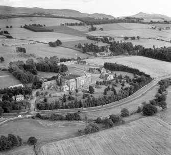 Queen Victoria School Dunblane and Lecropt, Perthshire, Scotland. Oblique aerial photograph taken facing East.