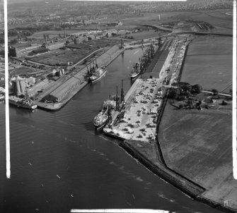 King George V Dock Govan, Lanarkshire, Scotland. Oblique aerial photograph taken facing South. This image was marked by AeroPictorial Ltd for photo editing.