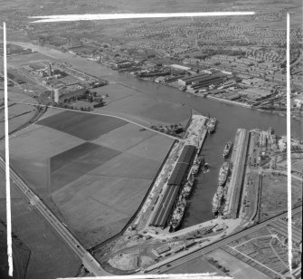 King George V Dock to Braehead Govan, Lanarkshire, Scotland. Oblique aerial photograph taken facing North. This image was marked by AeroPictorial Ltd for photo editing.