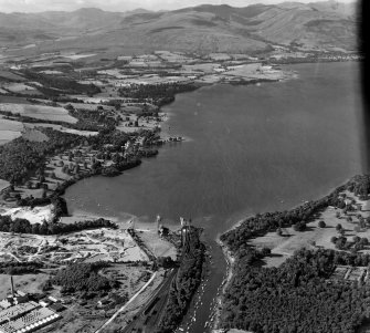 Loch Lomond, River Leven foreground and Balloch Pier to Cameron House Bonhill, Dunbartonshire, Scotland. Oblique aerial photograph taken facing North/West.
