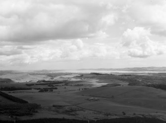 View showing Tay and Bridge in distance Kinfauns, Perthshire, Scotland. Oblique aerial photograph taken facing East.