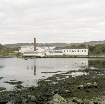 Lagavulin Distillery General view of distillery from SSE, viewed from the ruins of Dunvaig Castle
