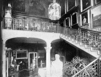 Copy of historic photograph showing interior view of the marble hall.