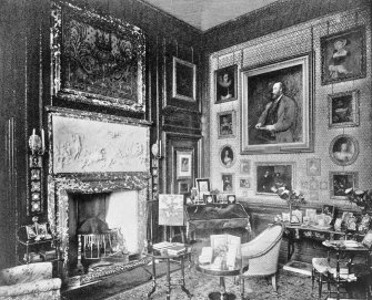 Copy of historic photograph showing interior view of the Duchess' sitting room.