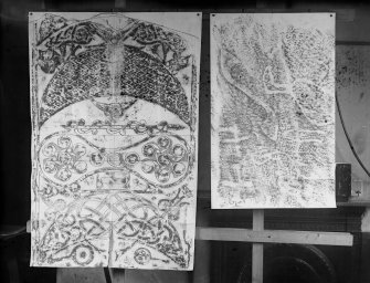 Photographic copy of two rubbings. The left rubbing shows upper detail of the reverse of Rosemarkie no.1 Pictish cross slab. The right rubbing shows details of Pictish symbol rock carvings from East Wemyss Doo Cave, including an 'S' symbol, a bird and small crosses.