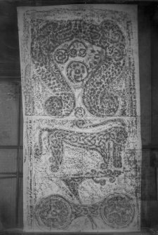 Photographic copy of rubbing showing the reverse of Rodney's Stone Pictish cross slab, Brodie.