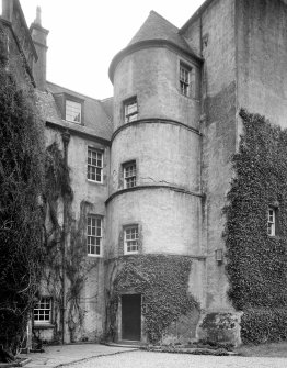 Cessnock Castle. View of turret and entrance from North.