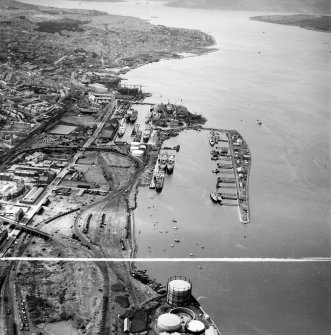 Greenock Harbour, Great Harbour, Greenock, Renfrewshire, Scotland, 1949. Oblique aerial photograph taken facing north-west.  This image has been produced from a crop marked negative.