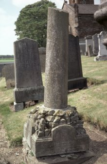 General view with memorial pillar to Thomas Davidson, Kilconquhar Old Parish Churchyard.