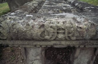 Detail of tablestone showing head of green man, Kilconquhar Old Parish Churchyard.