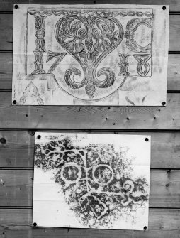 Photographic copy of two rubbings. The upper rubbing is of an unidentified carving, bearing the date 1718. The lower rubbing shows the incised double disc and Z-rod and beast's head Pictish symbol carvings in Doo Cave, East Wemyss.