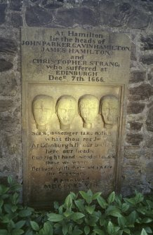 View of the Covenanter Martyrs memorial, Hamilton Parish Church burial ground.