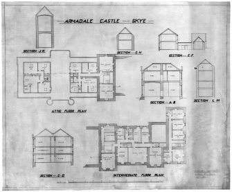 Skye, Armadale Castle. Intermediate floor plan, attic floor plan and sections   Insc: 'Armadale Castle - Skye. J. Wittet, Architect, 81 High Street, Elgin. Oct 1928'.