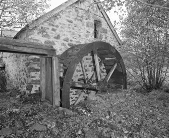 View of lade and waterwheel from West.
