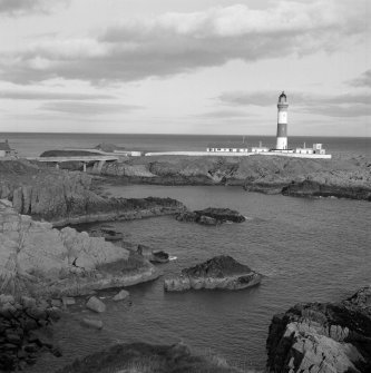 Boddam, Buchan Ness Lighthouse View from south west of lighthouse, and concrete bridge (built 1963) to island on which lighthouse is situated, to the east of the village of Boddam